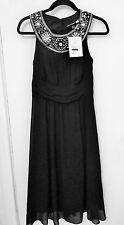 Antthony Design Originals Couture Ladies Size 6 Black Chifon Beaded Dress - Nwts