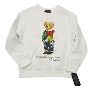 Polo Ralph Lauren Boys White Polo Bear Graphic Fleece Pullover Sweatshirt