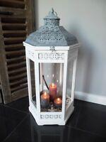 XXL Holz Laterne Windlicht Metalldach weiß 78 cm 6eckig - Landhaus Shabby Chic