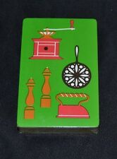 Vintage Playing Cards Kitchen Iron Coffee Grinder S&P Mill Frying Pan Sealed!