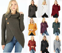 S- XL Women's Waffle Knit Sweater Cowl Turtle Neck Wrap Tunic Long Sleeve Boho