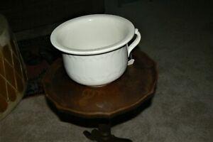 Antique English Ironstone China Chamber Pot/Planter (White) 100 yrs old