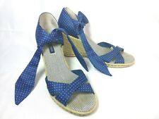 "Tommy Hilfiger SZ 7.5 M Navy polka Dot Tie Wrap Wedges High 3.5"" Shoes Peep Toe"
