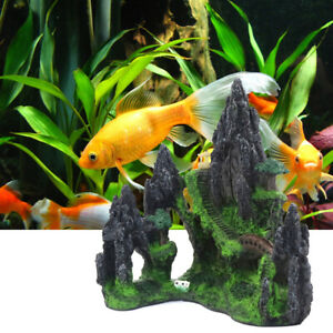 Aquarium Ornament Rockery Mountain View Hiding Cave Tree Fish Tank Decoration