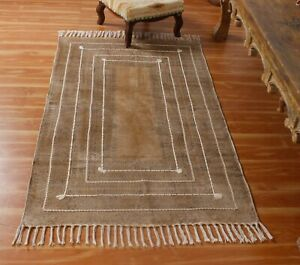 3x5 8x10 Indian Hand Block Printed Moroccan Outdoor Rug Dhurrie Home New Carpet