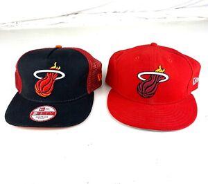 "New Era NBA Miami Heat 9FIFTY Set Of 2 Hats Red/Black, SnapBack And 7 3/4"""