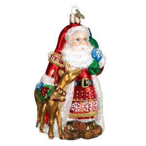 Old World Christmas NORDIC SANTA (40104)N Glass Ornament w/OWC Box