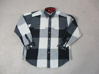 VINTAGE Tommy Hilfiger Button Up Shirt Adult Medium Black Crest Mens 90s A39*
