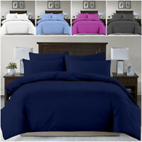Easy Care Duvet Set Single, Double & King Microfibre Bedding Plain Quilt Covers