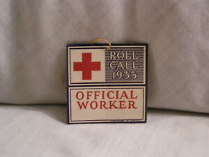 1935 RED CROSS ROLL CALL OFFICIAL WORKER HANG TAG