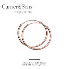 14ct Gold-Plated 925 Sterling Silver Hoop Sleeper Earrings (Pairs)