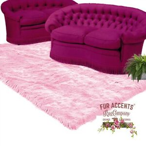 Contemporary Pink Shag Rug - Plush Faux Fur - Bonded Suede Lining - Made in USA