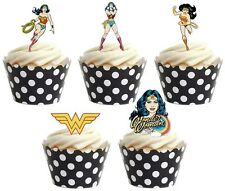 WONDER WOMAN SUPERHERO  Edible cake party toppers x 20 STAND UPS