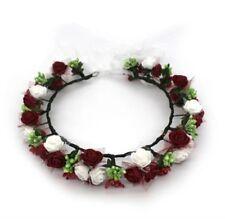 Flower Wreath Crown, Flowergirl, Wedding, Head Garland Wine Red & Off White