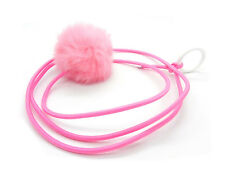 Bouncy Ball Rabbit fur String Cat Toy Pink