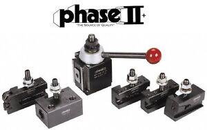 """Phase II Tool Post Set 5 Holders Piston AXA 9 To 12"""" Lathe Swing"""