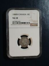 1880 H Canada Ten Cents NGC VG10 BETTER DATE SILVER 10C Coin PRICED TO SELL!