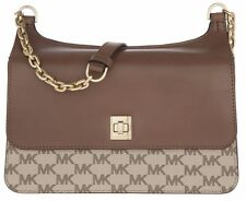 MICHAEL KORS  MK SIGNATURE Natalie MD Chain Crossbody Messenger Brown Luggage