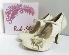 RUBY SHOO ALICE WOMEN'S CREAM GOLD MARY JANE ROUND TOE BUCKLE SHOES UK 7 40 NEW