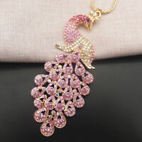 Betsey Johnson Pink Crystal Rhinestone Peacock Pendant Sweater Necklace