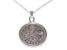 1964 de la suerte plata colgante moneda seis peniques más 45.7cm cadena ley
