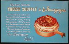 NYC NY La Bourgogne French Restaurant  Cheese Souffle Vtg City Ad Postcard PC