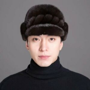 Whole Mink Fur Hat Winter Warm Thickened Hat for Middle aged Man Father