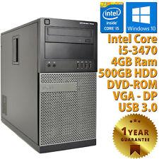 Ordinateur PC Remis à Neuf Dell 7010 Tower Core i5-3470 RAM 4GB HDD 500GB Win 10