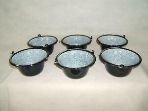 Servierkessel - Set 6 x 0,8 l Gulaschkessel Granitemailliert