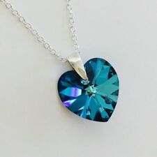 Swarovski Elements 925 Sterling Silver Crystal Heart Necklace Bermuda Blue