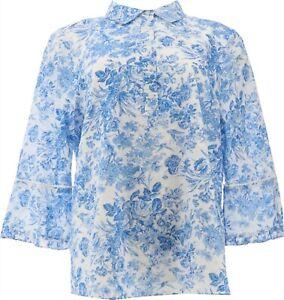 Isaac Mizrahi Toile Print Woven Shirt Button Placket Lagoon Blue 12 NEW A354782