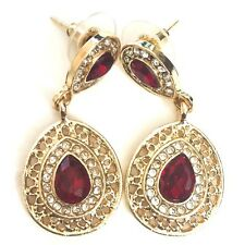Large Ruby Red Diamond Halo Stud Earrings Women Wedding Jewelry Gemstone Gift