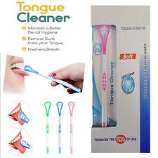 UK New 2X Tongue Scraper Hygiene Oral Care Dental Plastic Tongue Cleaner Brushes