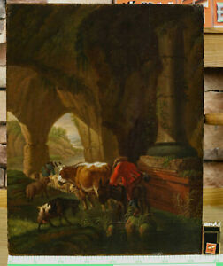 Oil Painting Antique On Wood Panel Painted Animals Shepherds Grotto Donkey Sheep