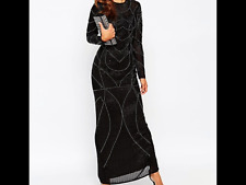 RED CARPET Delicate 20s Beaded Long Sleeve Maxi Dress Black Uk 9 RRP £150.00
