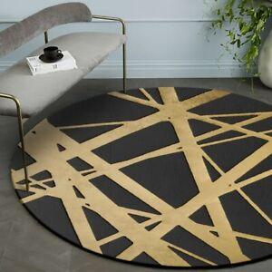 Modern Round Faded Black & Gold Rug/Carpet Unique Line Design