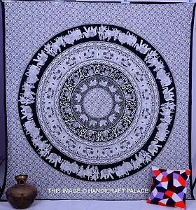Indien Hippie Mandala Tapestry White Bedcover Psychedelic Queen Wall Hanging Art