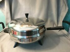"""Vtg Farberware Stainless Steel 310-A 12"""" Electric Skillet Fry Pan Lid Controller"""