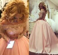 Off Shoulder Princess Quinceanera Dresses Appliques Lace Beaded Evening Dresses