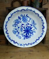 Large Vintage French Farmhouse White & Blue Floral Enamelware Basin