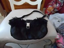 small black shoulder bag with faux fur and bling from Bath and Body