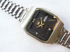 Dial 23J Japan Automatic Mens Wristwatch Used Vtg Ss Seiko 5 Square Brown