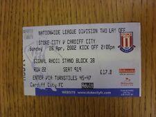 28/04/2002 BIGLIETTO: play-off semi-finale Division 2-STOKE CITY V Cardiff City (F