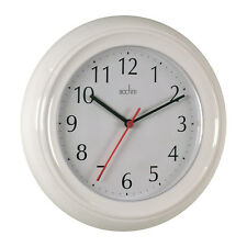 Acctim Wycombe Kitchen Bathroom Bedroom Office Round Wall Clock - White