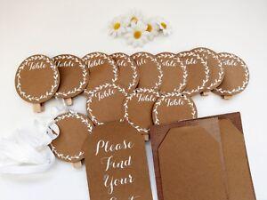 Rustic Wedding Seating Plan Garland Bunting Table Numbers Cards Kraft