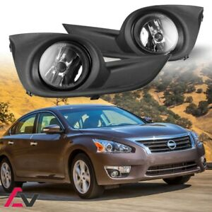 13-15 For Nissan Altima Clear Lens Pair Fog Light Lamp+Wiring+Switch Kit