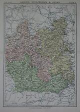 Original 1890 County Map OXFORD BUCKINGHAM BERKS England Henley Reading Windsor