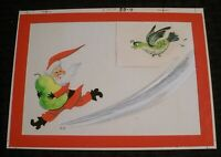 """MERRY CHRISTMAS Santa Claus Pear Chased by Partridge 8x6"""" Greeting Card Art #BB4"""