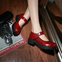 Mary Jane Women Creeper Chunky Heel Ankle Strap Faux Leather Comfy Shoe Pump Hot
