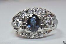 Antique Vintage Art Deco Sapphire Engagement Platinum Ring Size 4.75 UK-J Estate